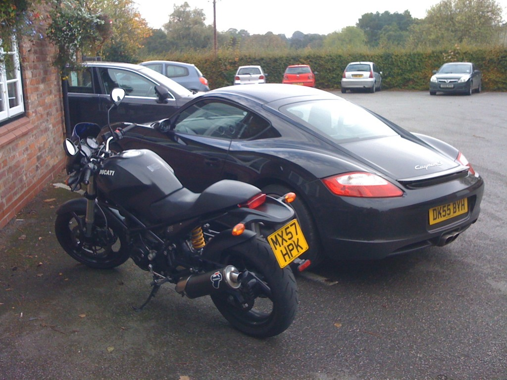 Ducati Monster and Porsche Cayman S