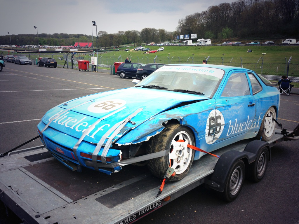 Porsche 944 race car damage